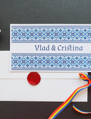 Invitatie nunta motive traditionale OPIS022