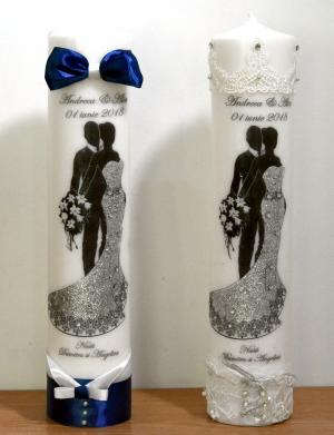 Lumanari imprimate si accesorizate cu dantela si satin FEIS021