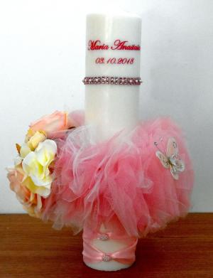 Lumanare personalizata botez cu tulle si flori de matase FEIS029