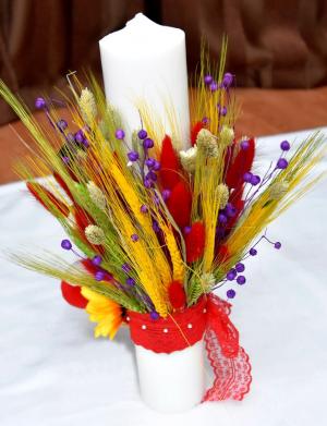 Lumanare botez cu flori uscate/spice de grau FEIS031