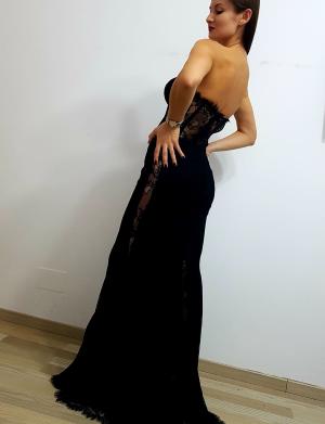 Rochie de ocazie lunga tip sirena, din dantela tip Chantilly, neagra AGB026