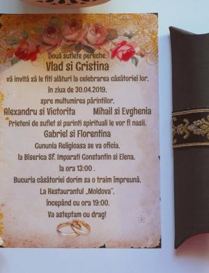 Invitatie nunta suport canvas OPIS034