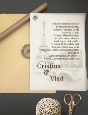 Invitatie nunta cu sigiliu OPIS006