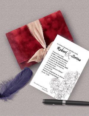 Invitatie nunta cu plic din catifea OPIS008
