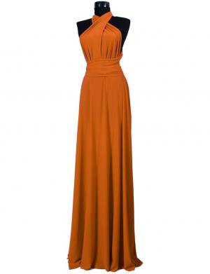 Rochie versatila lunga pentru domnisoare de onoare, portocaliu, ACD014