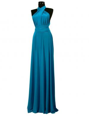 Rochie versatila lunga pentru domnisoare de onoare, turquoise, ACD007