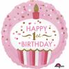 balon folie 45 cm 1st birthday cupcake girl