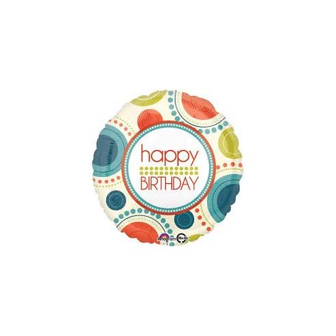 balon folie 45 cm happy birthday circle fun