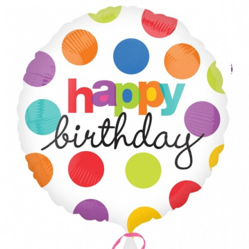 balon folie 45 cm happy birthday polka dots