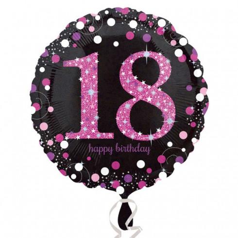 balon folie 45 cm pink 18 ani celebration