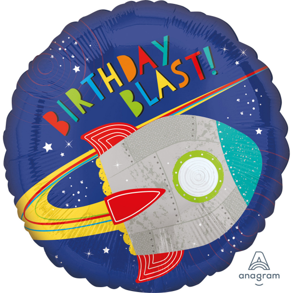 balon folie 45 cm racheta birthday blast