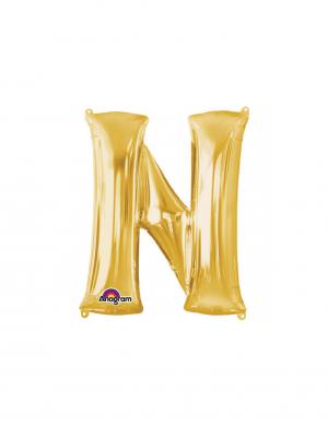 balon folie aurie litera n 86 cm
