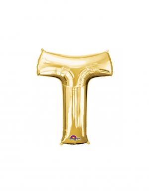 Balon folie litera T auriu 86 cm – FTB018