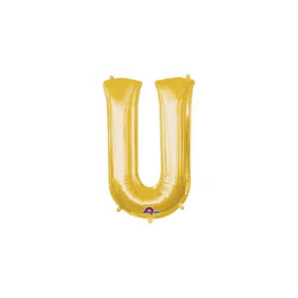balon folie aurie litera u 86 cm