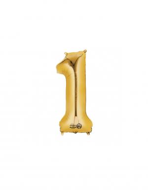 Balon folie cifra 1 auriu 86 cm FTB011
