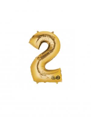 balon folie cifra 2 auriu 86 cm