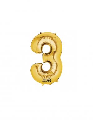 balon folie cifra 3 auriu 86 cm