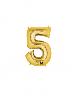 Balon folie cifra 5 auriu 86 cm FTB007