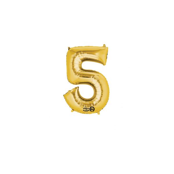 balon folie cifra 5 auriu 86 cm