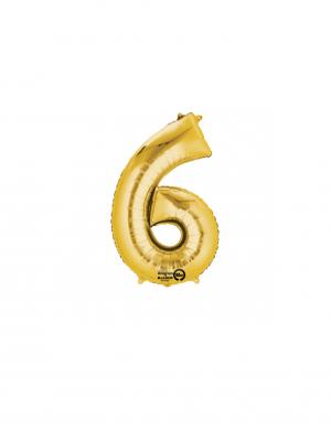 Balon folie cifra 6 auriu 86 cm FTB006
