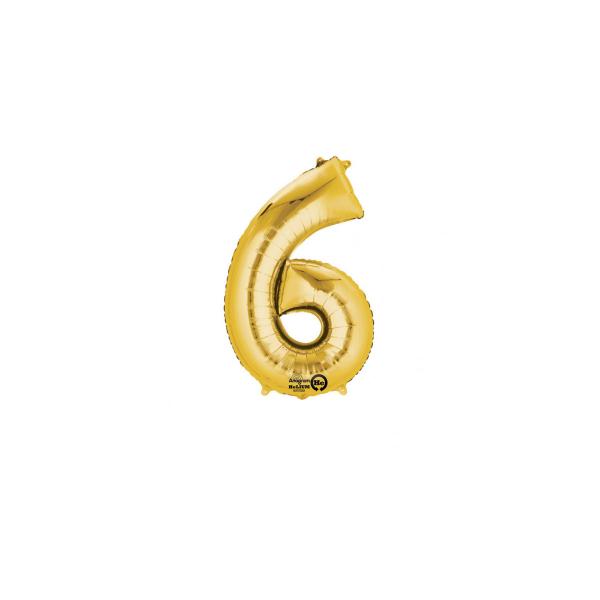 balon folie cifra 6 auriu 86 cm