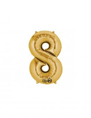 balon folie cifra 8 auriu 86 cm
