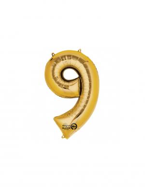 balon folie cifra 9 auriu 86 cm