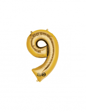 Balon folie cifra 9 auriu 86 cm FTB003