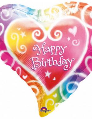 Balon folie figurina 45 cm inima Happy Birthday FTB040