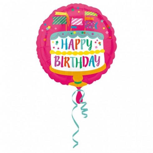balon folie inima 45 cm happy birthday cake and flags 1