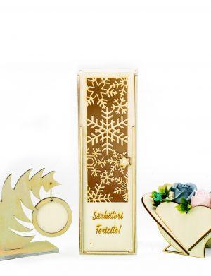 Pachet rama foto, cutie pentru sticla de vin, aranjament flori de sapun – OMIS01232