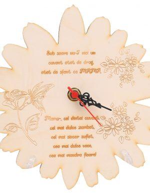 Ceas Gravat Cadou pentru Mama in forma de floare cu petale, diam.20cm, SOMIS178