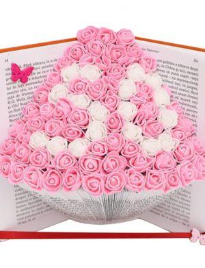Carte reala decorata in file cu flori din spuma, dimensiuni 200x130mm cu deschidere 15cm – OMIS01222