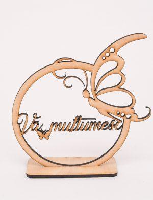 Decoratiune din lemn cu mesajul Va multumesc – OMIS01230