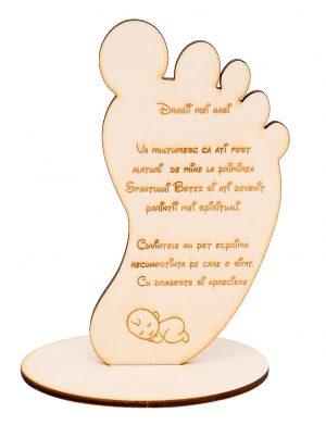 Decoratiune cadou pentru Nasii de Botez in forma de piciorus, gravata laser, 150mm inaltime, OMIS182