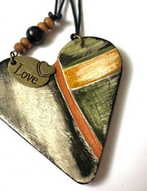 "Set pandantiv + cercei inima ""Boho Heart"""