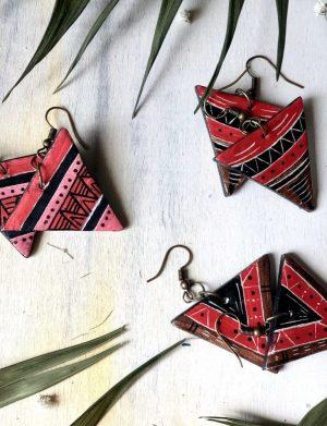 """Cercei triunghi rosu """"Aztec5"""""""