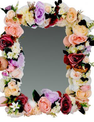 Oglinda miresei lucrata cu flori de matase, 40×60 cm – FEIS001
