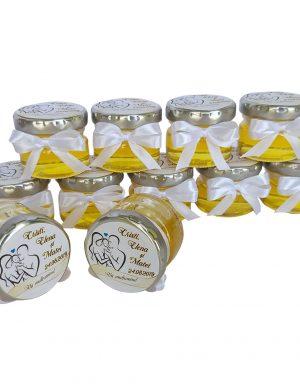 Marturii dulci cu miere, model handmade Iubire – alb nunta si botez, borcan 30 gr – DSBC006