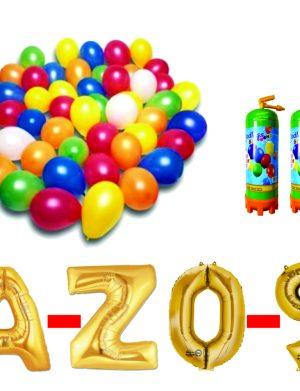Pachet 10 baloane numere / cifre la alegere, 2 butelii heliu, 100 baloane 26cm metalizate