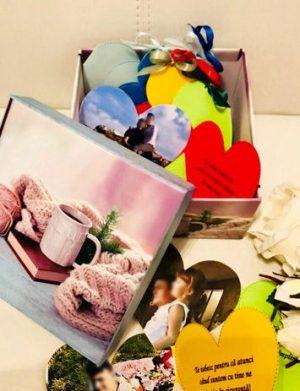 10 Motive, mesaje-inima, personalizate cu poze, cutii diverse modele, multicolor