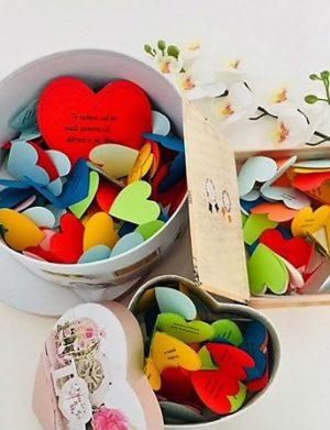 100 Motive Te Iubesc forma cutie si mesaje inimă din hartie, cadou indragostiti, multicolor, YODB1624