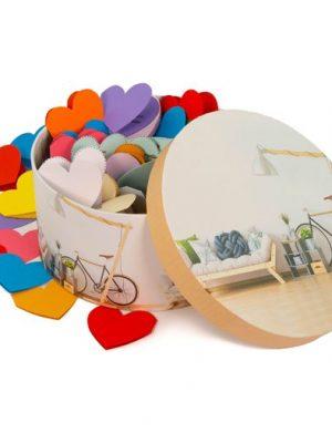 100 Motive Te Iubesc forma cutie si mesaje inimă din hartie, cadou indragostiti, multicolor