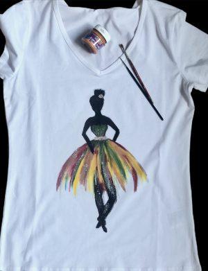 "Tricou pictat manual pentru femei""Balerina"", AHGL13289"