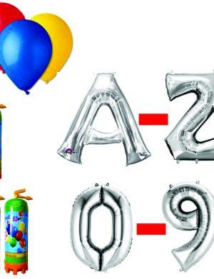 Pachet 15 baloane numere / cifre argintii la alegere, 3 butelii heliu, 100 baloane latex 26cm standard