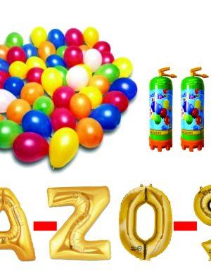Pachet 15 baloane numere / cifre la alegere, 3 butelii heliu, 100 baloane 26cm metalizate