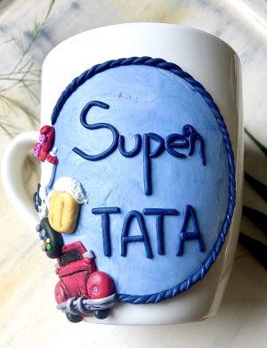 """Cana fimo """" Super Tata"""", decorata manual, AHGL12985"""