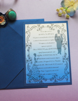 Invitatie nunta carton albastru OPIS012