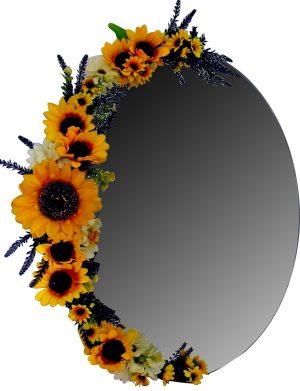 Oglinda decorata partial cu floarea soarelui din matase, 40×60 cm – FEIS002