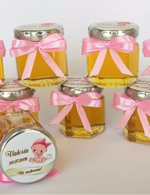 Marturii dulci cu miere, model handmade Iubire – mov, borcan 50 gr – DSBC007